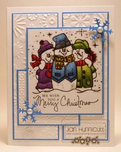 Christmas card with embossed panels.