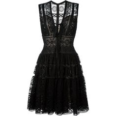 Elie Saab Embroidered Flared Dress found on Polyvore featuring dresses, elie saab, black, silk dress, silk embroidered dress, elie saab dresses, flare dress and broderie dress