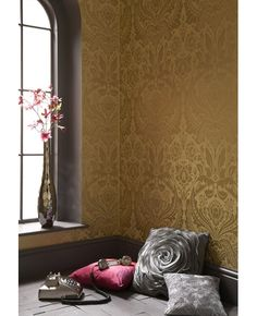 Desire: Gold-Mustard Wallpaper by Graham & Brown Set Decor, Decor, Room Inspiration, Damask Wallpaper Bedroom, Small White Bathrooms, Wall Coverings, Home Decor, Simple Room, Brown Wallpaper