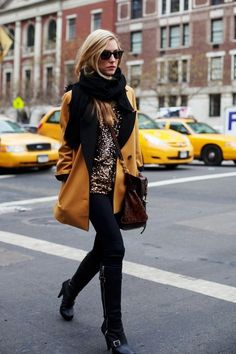 I love everything about this....sequin top, big scarf, gold coat, crossbody bag and booties.  #fashion #style