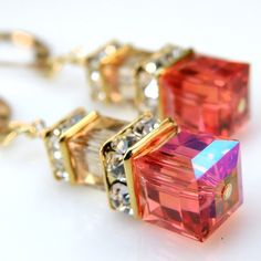 Tangerine Orange Champagne Crystal Earrings- love this color, must remember to order some when I place my next bead order