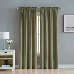 Enjoy the velvety soft look of your space when you add the VCNY Home Velvet Rod Pocket Window Curtain Set to your windows. Each of these drapes boasts. Curtains Kohls, Drapes Curtains, Green Curtains, Blackout Curtains, Curtain Hardware, Curtain Sets, Curtain Panels, Room Darkening Curtains, Velvet Curtains
