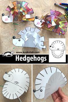 Kids Crafts, Fall Crafts For Kids, Toddler Crafts, Projects For Kids, Art For Kids, Paper Craft For Kids, Kindergarten Art, Preschool Crafts, Hedgehog Craft