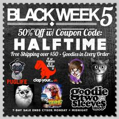 Save 50% with Coupon Code: HALFTIME at www.ShopGoodie.com! 7-Day Sale!