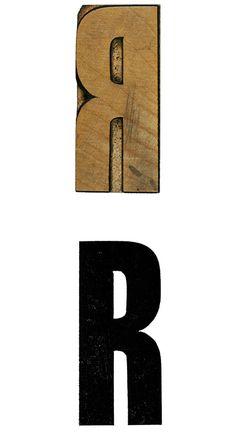 12 line Newstype wood type capital letter R