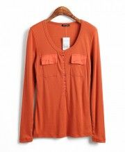 Orange Long Sleeves T-shirt with Twin Chest Flap Pockets