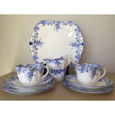 "Shelley ""Dainty Blue"" Vintage Teacup Trios, Creamer, Sugar Bowl Cake... ($349) ❤ liked on Polyvore featuring home, kitchen & dining, serveware, blue sugar bowl, vintage pitchers, english bone china tea set, vintage milk pitcher and blue tea set"