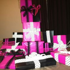 Gift wrapped prizes for my favorite soon-to-be Bride's, Bridal Shower! :)