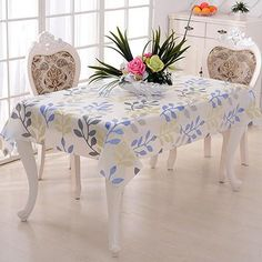 PVC Pastoral Table Cloth Waterproof Oilproof Floral Printed Lace Edge Plastic Table Covers #Kitchen_Decoration #Kitchen_Table_Decoration #Kitchen_Accessories