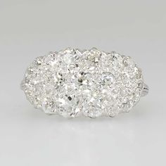 Art Deco 1930's 2ct t.w. Old European Cut Diamond Cluster Filigree Cocktail Ring Platinum | Antique & Estate Jewelry | Jewelry Finds