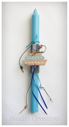 "Easter Candle - ""Happy Blue Boat"""