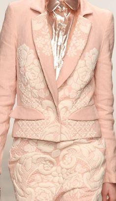 Pastel Pink Suit with 3d floral motifs | Bora Aksu, Fall 2012