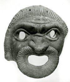 Theatre mask, terracotta, Italy, 100 BC-100, Roman. Comic mask of a slave.