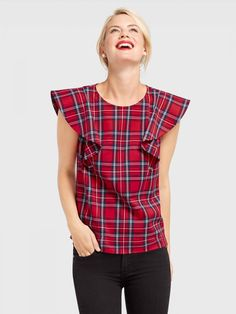 Angie Check Isabelle Ruffle Top by Draper James Casual Holiday Outfits, Tartan Dress, Draper James, Ruffle Top, Ruffle Sleeve, Festival Outfits, Tunic Tops, Fashion Outfits, Trending Outfits