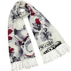 100% Pashmina Cashmere Ink Painting Watercolor Flowers Tassel Ends Long Scarf Shawl $36.45