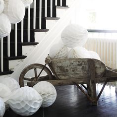 Buy Gifts > Wedding & Celebrations > Honeycomb Paper Decorations from The White Company Pom Pom Decorations, Paper Christmas Decorations, First Birthday Decorations, Wedding Decorations, White Company Gifts, The White Company, Christmas Is Coming, Christmas Home, Silver Christmas