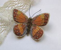 Embroidered butterfly brooch, 'Large Heath', textile art, soft sculpture, cottage chic.