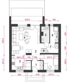 Dom Dla Ciebie 6 bez garażu [B] - Rzut parteru Architecture Concept Diagram, Small House Plans, Floor Plans, How To Plan, Gallery, Case, Dom, Little House Plans, Tiny House Plans
