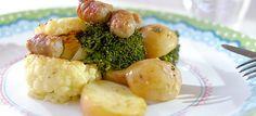 Bloemkool en broccoli uit de oven met stukjes chipolata