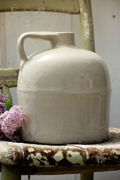 Old white crock jug