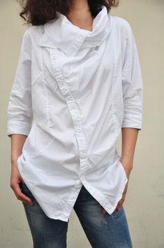 Be happy/turndown big collar bat-wing sleeve shirt/2 colors/custom made. $65.00, via Etsy.