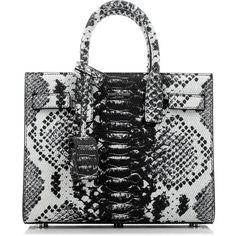 Saint Laurent Sac De Jour Nano Bag (€1.364) ❤ liked on Polyvore featuring bags, handbags, shoulder bags, python leather handbag, leather shoulder handbags, real leather handbags, python handbag and genuine leather purse