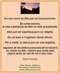 """Breu escrit del Papa Francesc que comença dient: """"No cal creure en Déu per ser bona persona."""""""