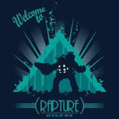 """Welcome to Rapture"" by Raki Martínez is $10 today at ShirtPunch.com (01/05). #tshirt #Rapture #BioShock #BigDaddy #ADAM"