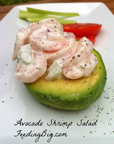 Avocado and Shrimp Salad recipe with Feeding Big.  The perfect lunch or light dinner salad.  Smooth avocado with a creamy shrimp salad, add a crisp glass of white wine and a hunk of french bread and you are set!