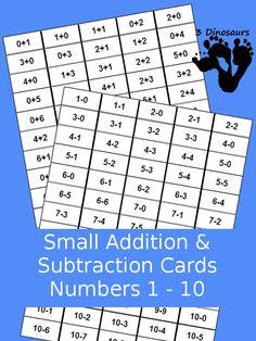 Free Small Addition & Subtraction Flash Cards numbers 1 to Addition Flashcards, Math Addition, Addition And Subtraction, Addition Facts, Math Activities For Kids, Number Activities, Educational Activities, Preschool Ideas, 1st Grade Math