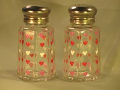Hand Painted Valentine Heart Salt and Pepper Shakers
