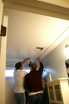 Unique Beadboard Basement Ceiling