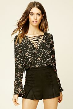 Forever 21 Contemporary - A woven top featuring a lace-up V-neckline, long flounce sleeves, and an allover floral print.