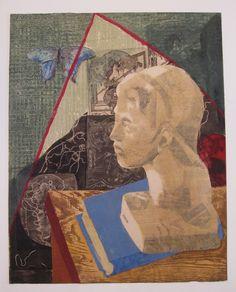 Junichiro Sekino, Still Life, 1949, etching, woodblock and newspaper transfer
