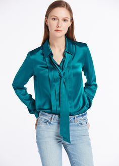 64c8337ea38c6c 22MM Button Front Pleated Silk Shirts Green Shirt Outfits