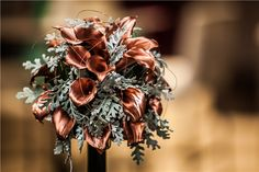 Bouquet for a steampunk wedding? Painted metallic copper calla lilies with velvety silver dusty miller and copper wire - Viviano Weddings