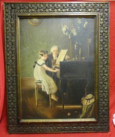 Mouse over image to zoom                                                                                                                     Have one to sell? Sell it yourself       Large Vtg Painting Music Lesson By Jules Alexis Muenier Reproduction By TJ Shih