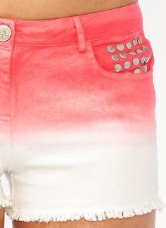 dip-dye studded shorts.