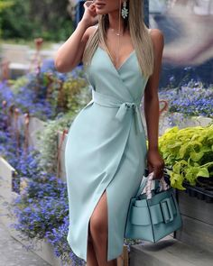 Spaghetti Strap V-Neck Wrap Slit Dress - Women Store Trend Fashion, 80s Fashion, Fashion Dresses, Womens Fashion, Kawaii Fashion, Style Fashion, Fashion Shoes, Fashion Beauty, Paris Chic