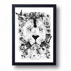 Floral Lion Signed A3 Print