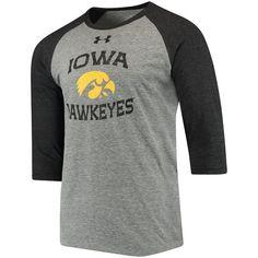 Iowa Hawkeyes Under Armour Baseball Performance Tri-Blend 3/4-Sleeve T-Shirt - Heathered Gray/Black 2