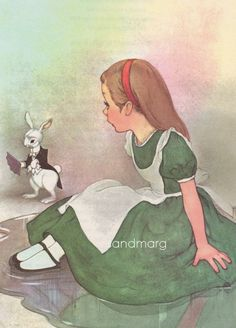 Vintage 1950s Alice in Wonderland and the White Rabbit