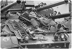 """The M-50 Ontos and a crewman catching 40 Z's. Ontos is the Greek word for """"The Thing"""""""