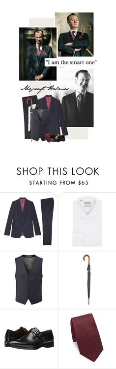 """""""Mycroft Holmes"""" by onemonday ❤ liked on Polyvore featuring Gucci, Chester Barrie, Skopes, London Undercover, Kenneth Cole, Saks Fifth Avenue, men's fashion and menswear"""