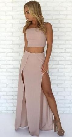 two piece pink long prom dress, 2018 two piece pink long prom dress, straps 2 piece pink long prom dress with slit