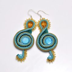 Treble clef soutache earrings music blue honey mother of by PikLus, $30.00