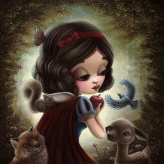 """Inspired by Disney's """"Snow White and the Seven Dwarfs"""". For June 2014 Group Show at Disney's WonderGround Gallery in Anaheim, CA. acrylics on canvas x unframed, x framed Prints available at WonderGround Gallery Disney Pixar, Disney Fan Art, Punk Rock Princess, Fairest Of Them All, I Love Snow, Twisted Disney, Fairytale Art, Pop Surrealism, Cute Disney"""