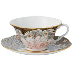 Wedgwood Daisy Tea Story Teacup & Saucer Set, Blue ($50) ❤ liked on Polyvore featuring home, kitchen & dining, drinkware, fillers, tea, drinks, kitchen, multi, bone china and blue tea cups and saucers