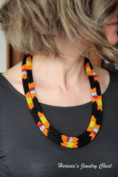African Necklace Beaded Necklace Bead Crochet Necklace by Herinia, $82.00