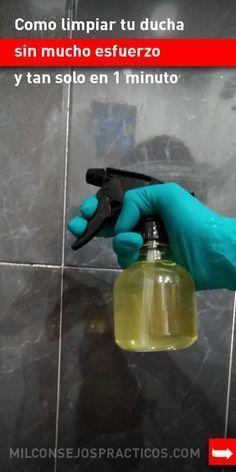 Como limpiar tu ducha sin mucho esfuerzo y tan solo en 1 minuto Diy Home Cleaning, Toilet Cleaning, House Cleaning Tips, Diy Cleaning Products, Cleaning Hacks, Cleaning Supplies, Cleaning Vinegar, First Aid Tips, Power Clean
